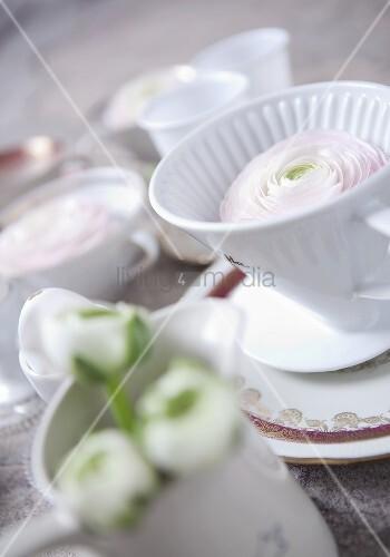 kaffeefilterbeh lter aus weisser keramik und blumen in vase bild kaufen living4media. Black Bedroom Furniture Sets. Home Design Ideas