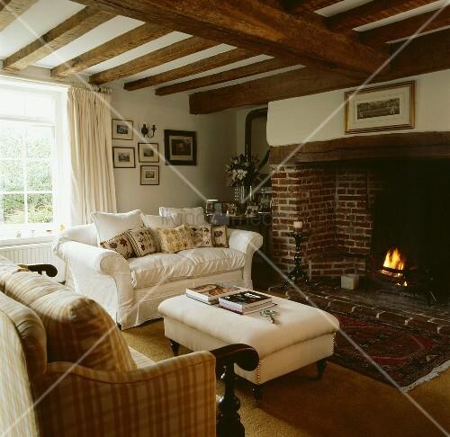 Polstersofas mit kissen um einen brennenden kamin in traditionellem wohnzimmer mit Hundeurin aus sofa entfernen