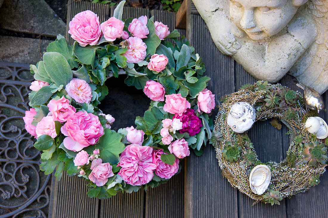 Wreathed with fragrant roses