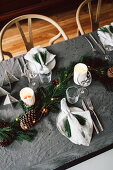 A Christmas Table in Green and Grey