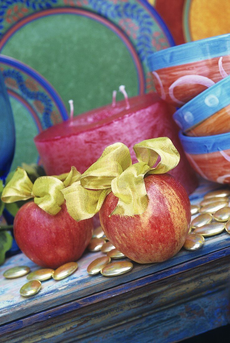 Apples with gold bows for Christmas
