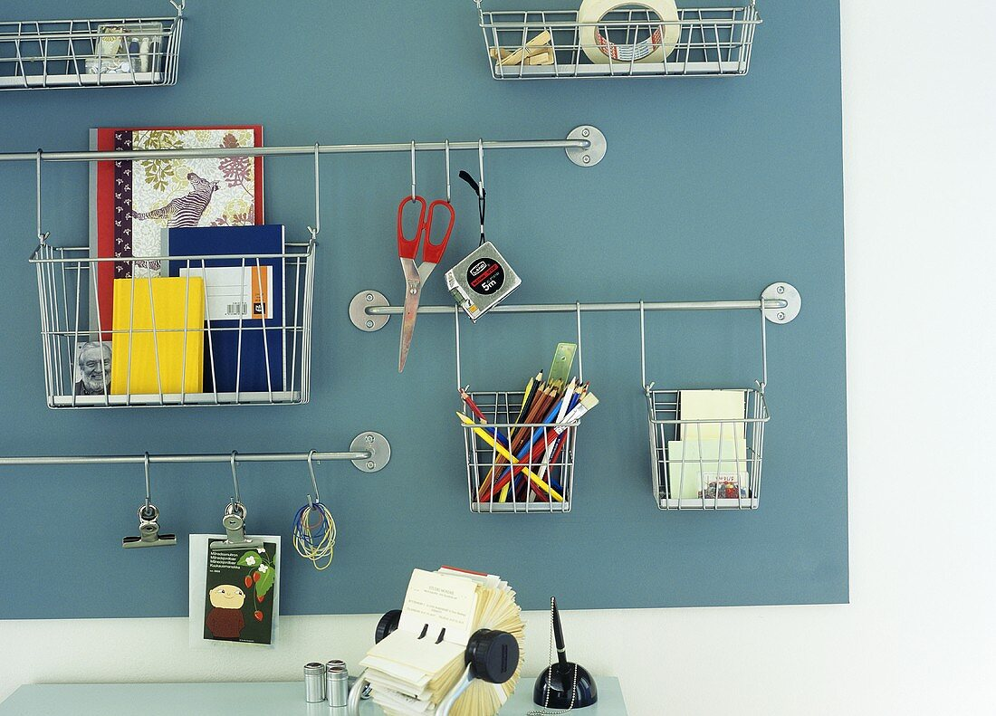 Wall-mounted baskets for storing office supplies