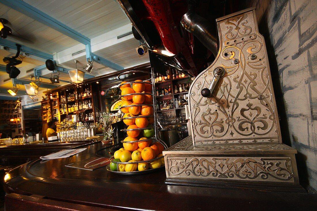 A cash register on the bar in Cuban restaurant La Bodeguita Del Medio in Prague, Czech Republic