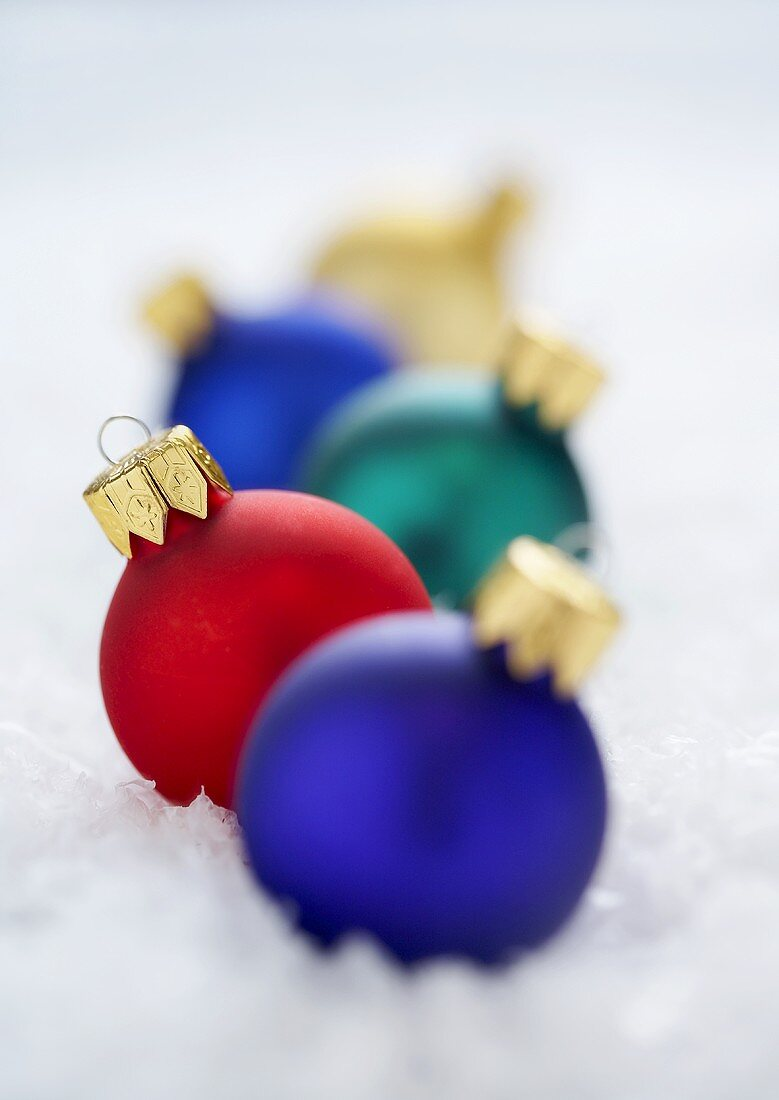 Christmas Ball Ornaments In a Row