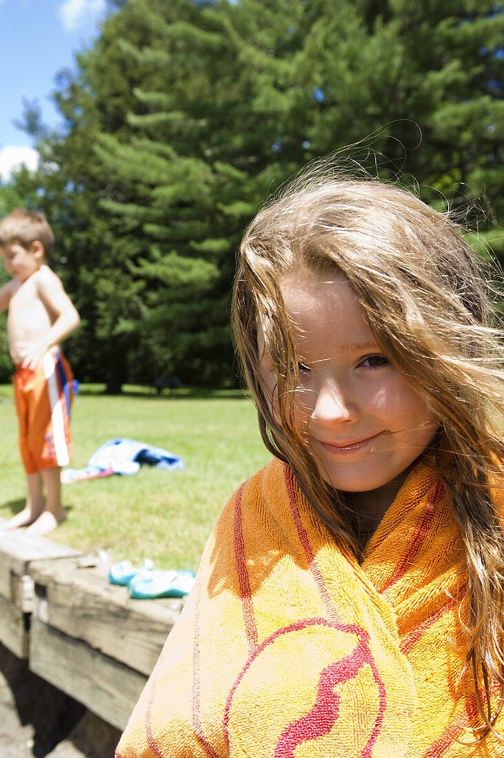 Little Girl Wrapped in a Towel; Little Boy; Outdoor