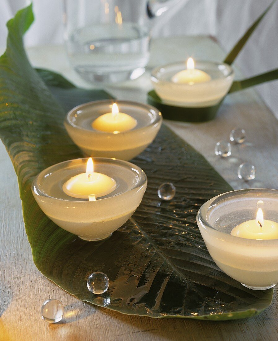 Floating candles in small bowls