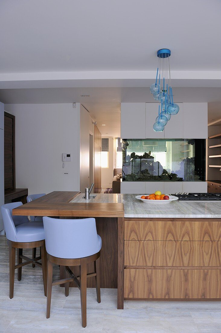 Picture of: Blue Bar Stools At Island Unit Breakfast Buy Image 708790 Living4media