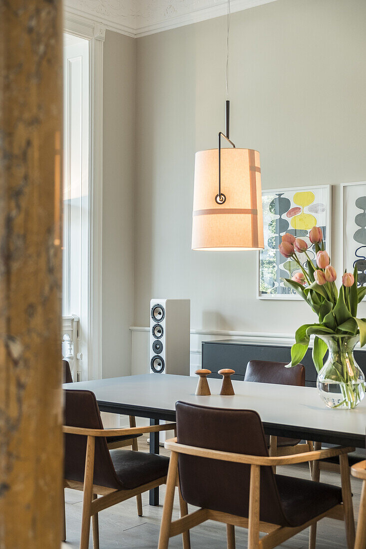 dining table in a modern furnished Art Nouveau apartment in Hamburg, north Germany, Europe