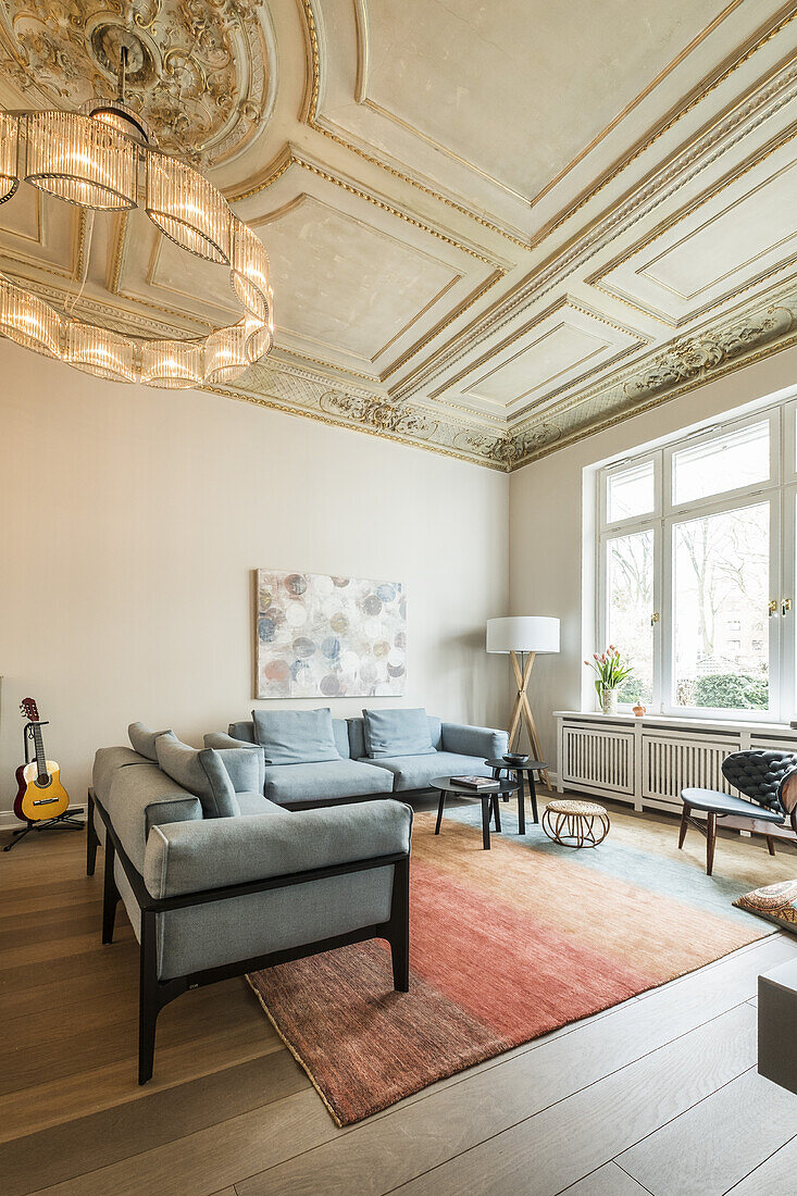 Living room in a modern furnished Art Nouveau apartment in Hamburg, north Germany, Europe