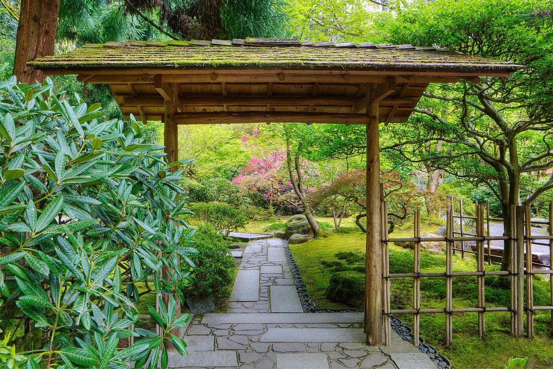 Gazebo in Japanese Garden, Portland, Oregon, United States