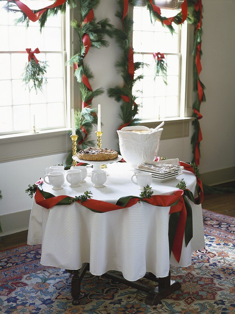 Christmassy table with a cake