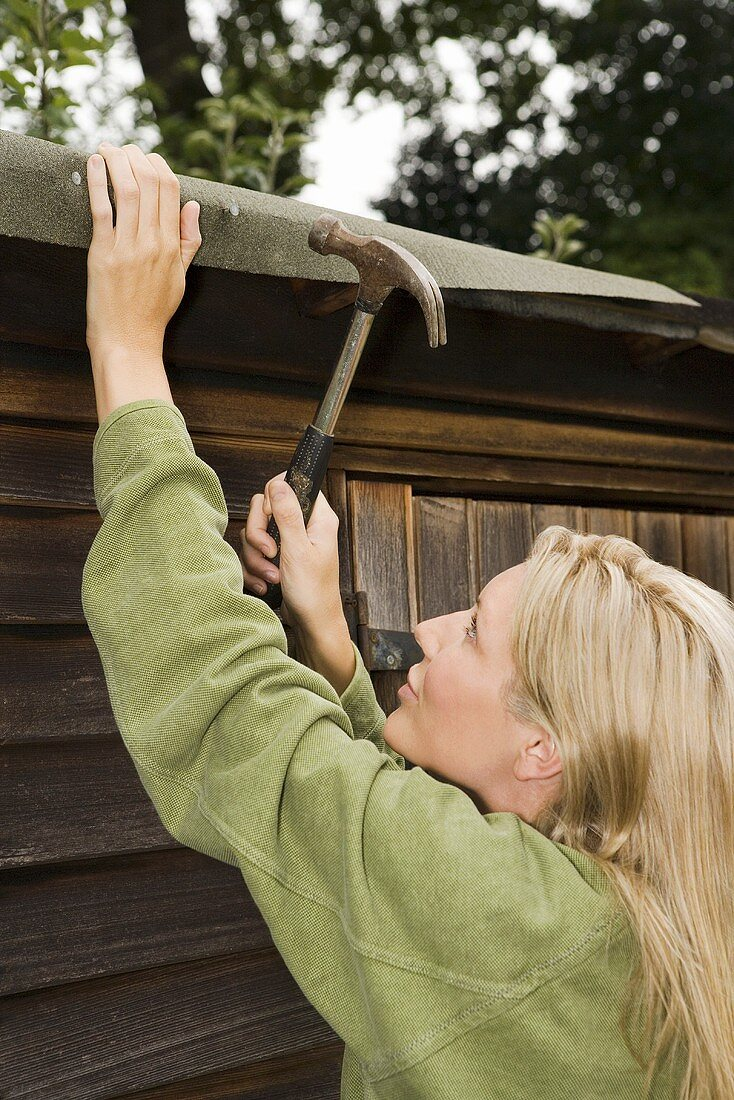 A woman fixing her shed