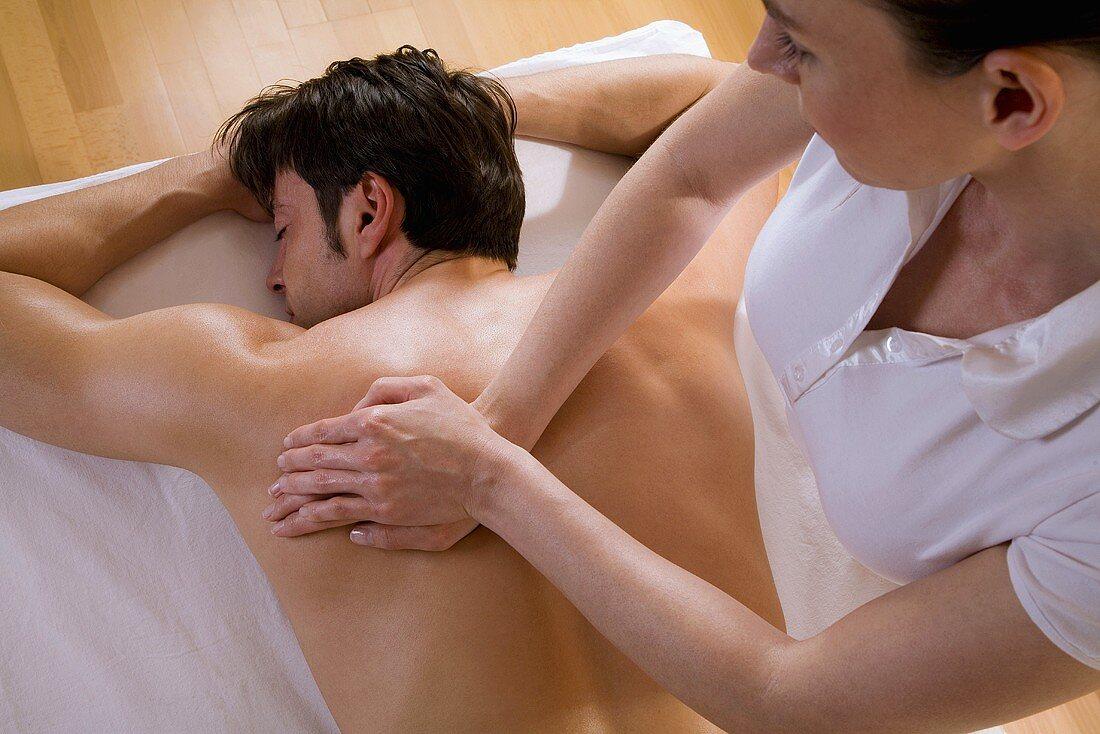 Man receiving massage