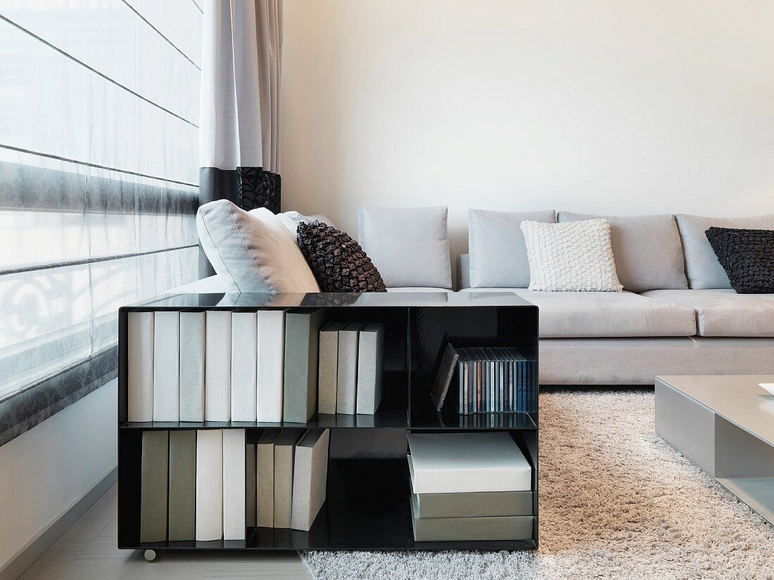 Open rolling storage container next to a window with a curtain and a modern sofa in a living room