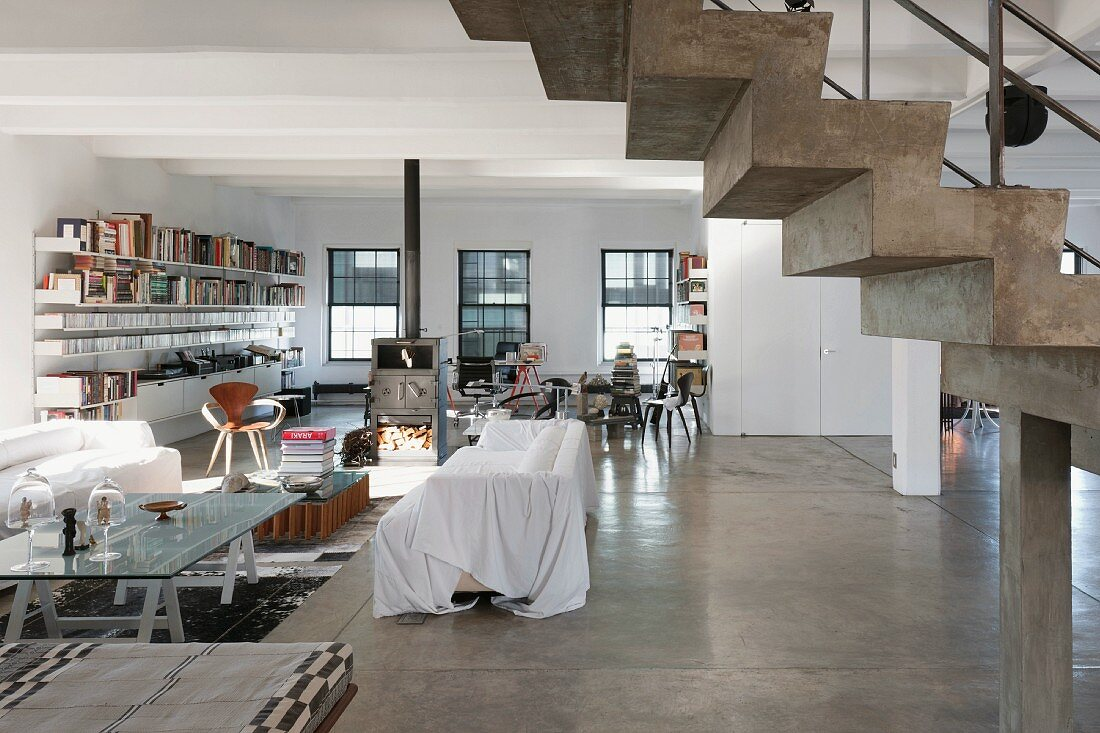 Large living area in a New York loft