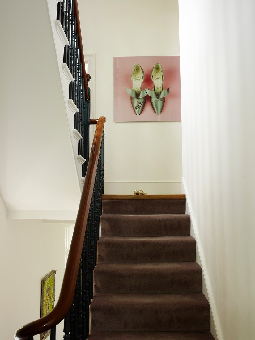 View Up Staircase With Brown Carpet And Buy Image 11106496 Living4media