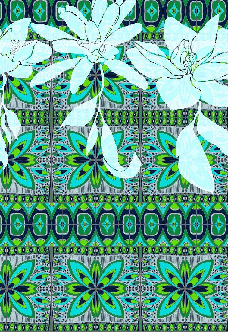 Tropical flowers on tribal pattern (print)