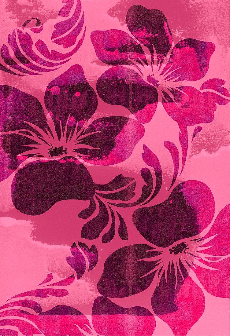 Pink tropical flower design (print)