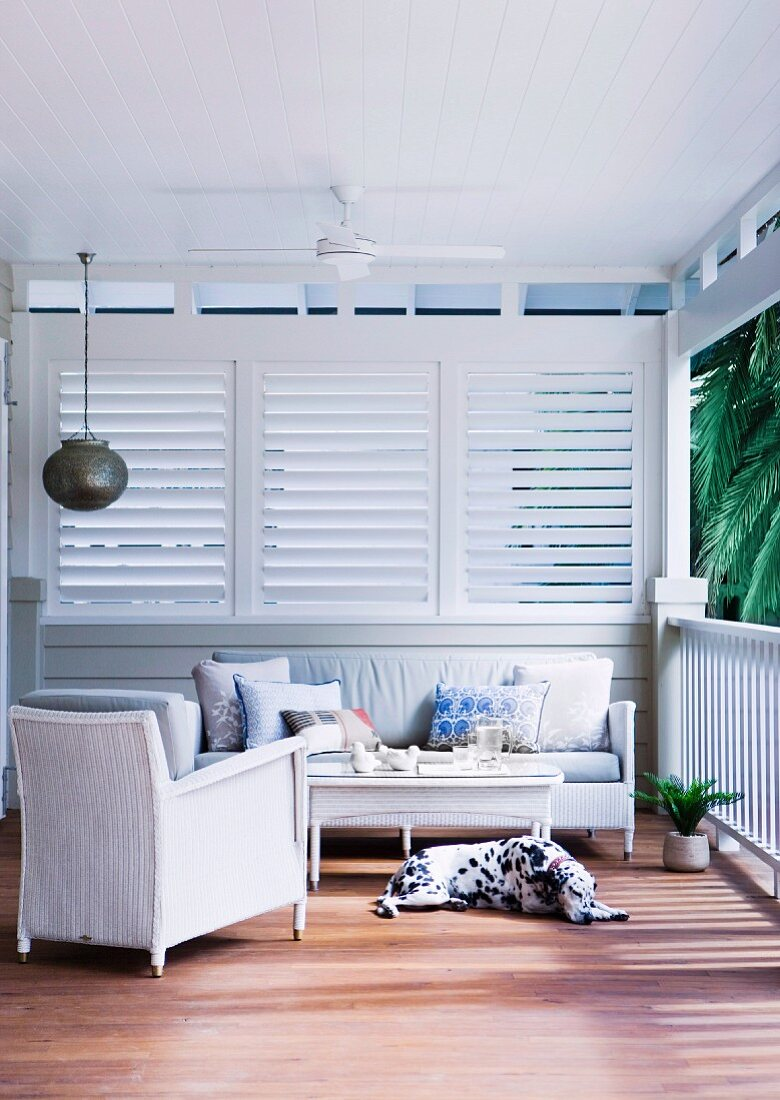 Cozy veranda with ceiling fan and sleeping dog in front of white wooden railing