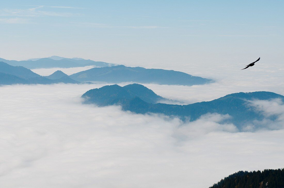 View of a cloud covered mountain landscape