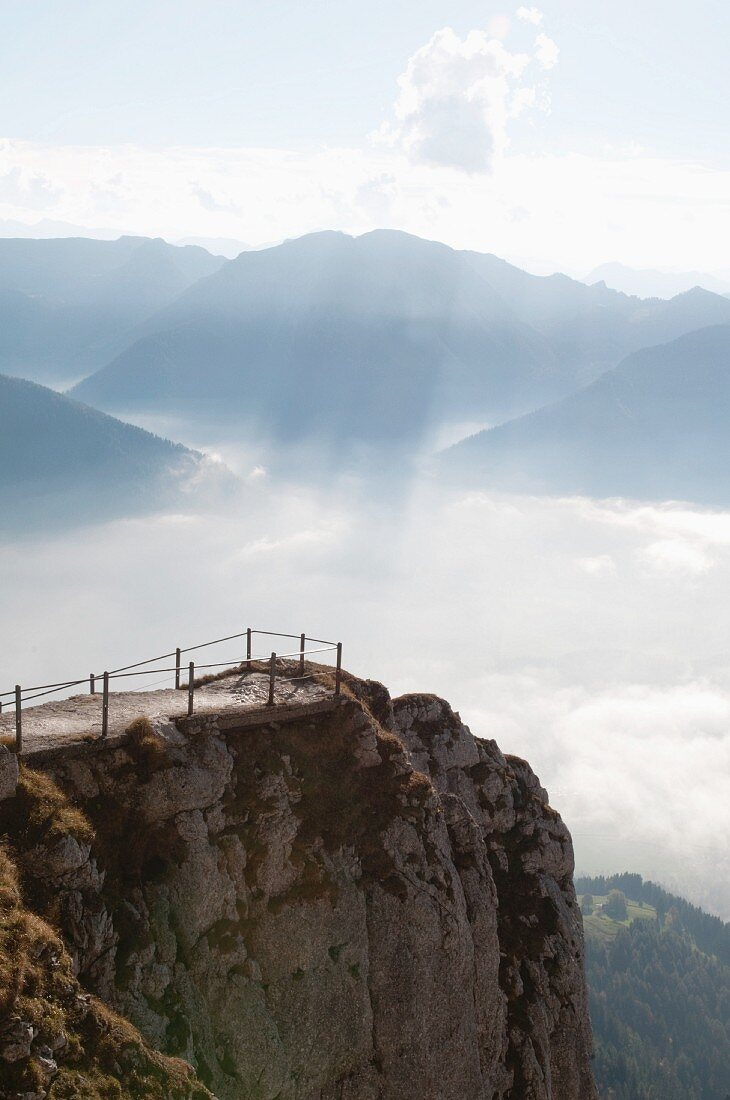 View of a viewing platform on a mountain crag