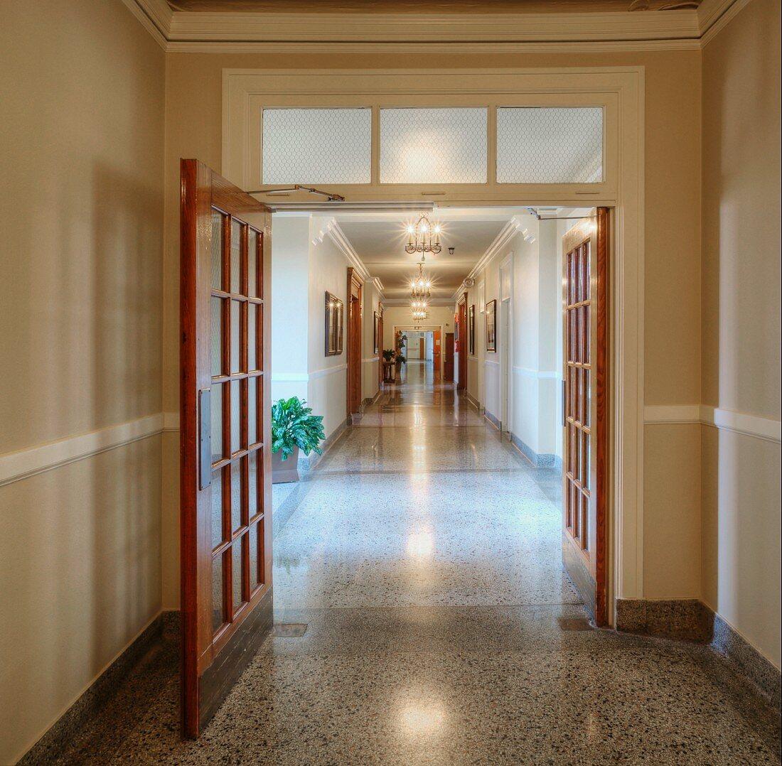 Long corridor in a historic Masonic Retirement Center in Des Moines, Washington