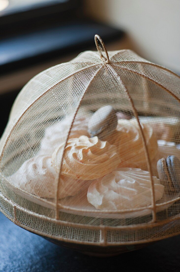 Meringues and macarons on a plate with a food cover net
