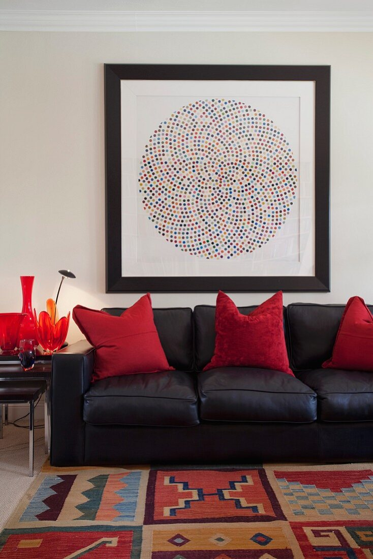 Black Leather Sofa With Red Decorative Buy Image 11155220 Living4media
