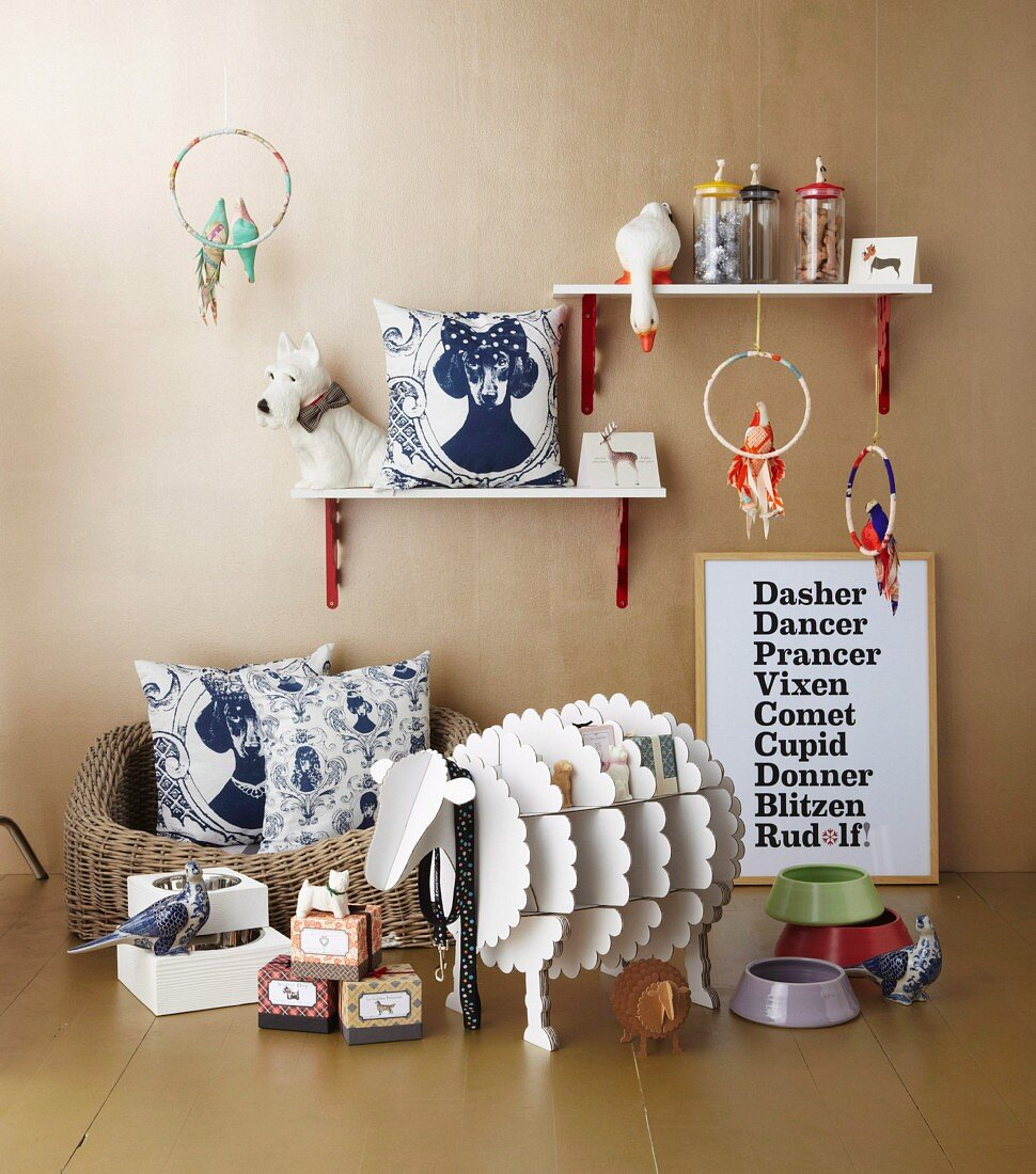 Christmas gifts for animal-lovers: feeding bowls, dog basket, animal figurines, dog lead, decorative cardboard sheep, scatter cushions