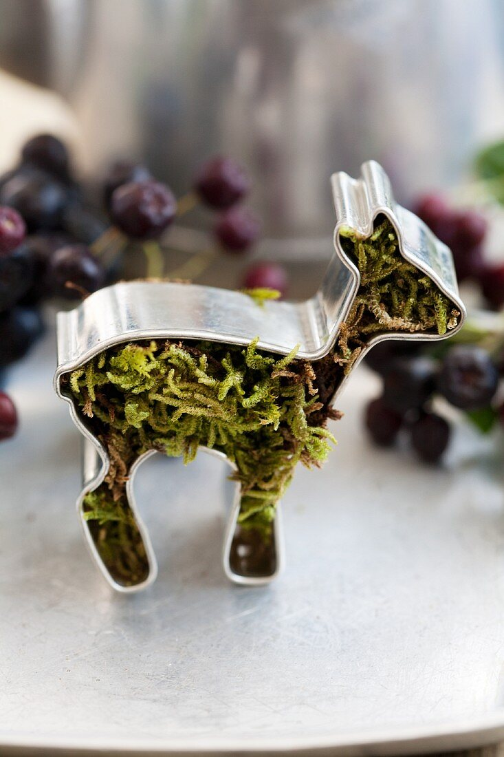 Deer-shaped cookie cutter filled with moss and Aronia berries