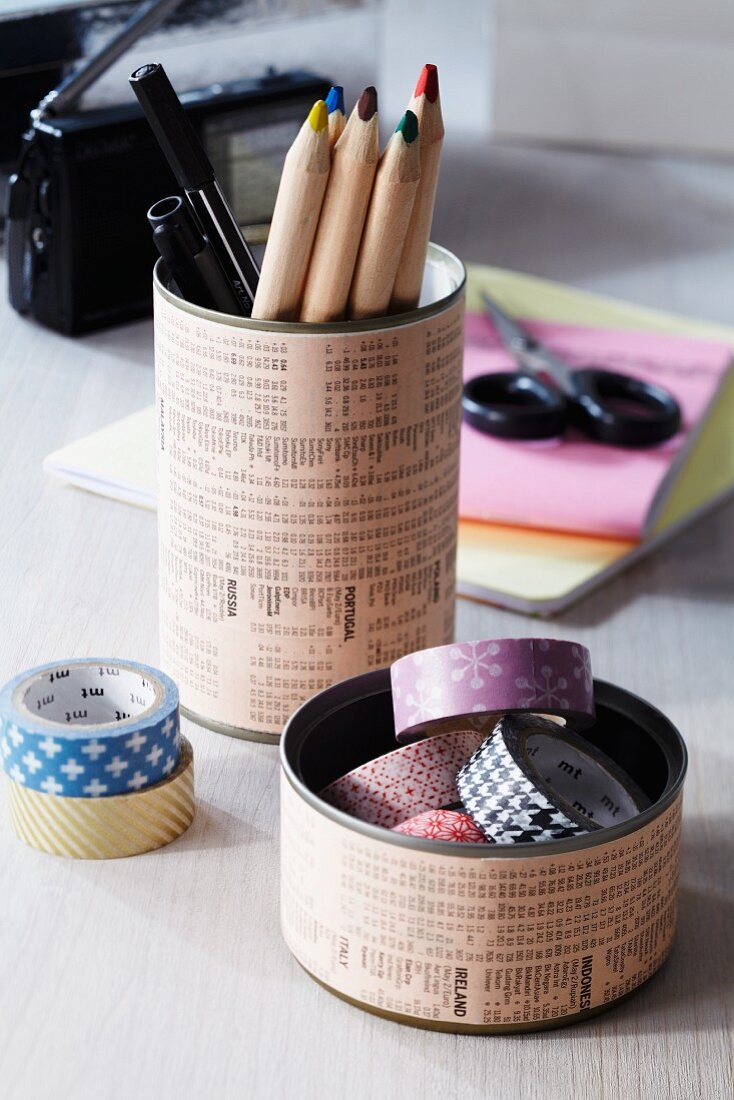 Hand-crafted pen holder & storage tin for desk