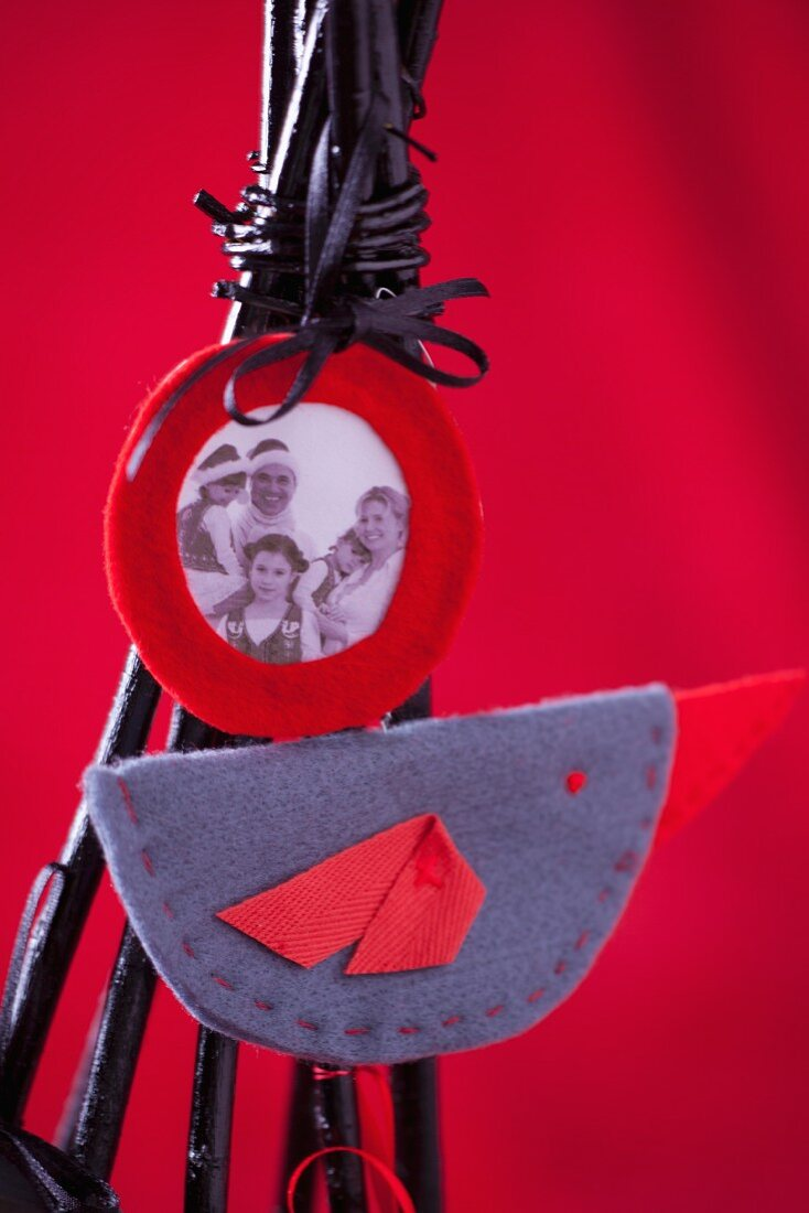 Family photograph and felt decoration on modern Christmas tree made of black-painted twigs
