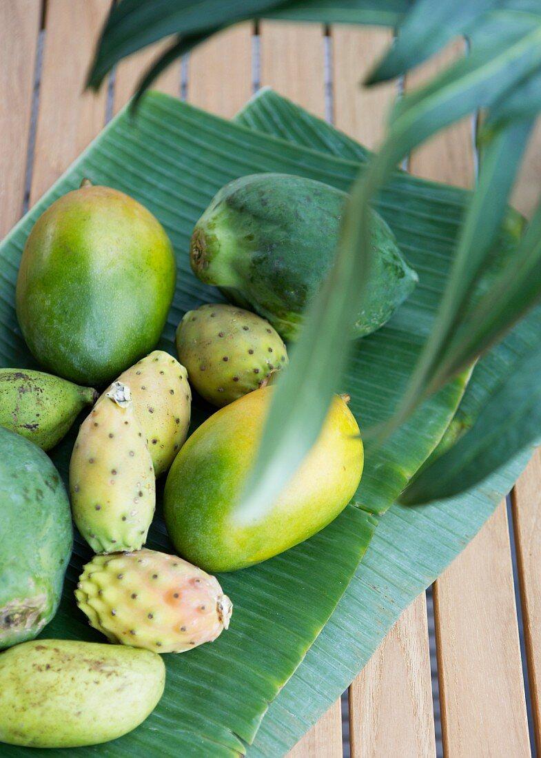 Exotic fruit on a banana leaf
