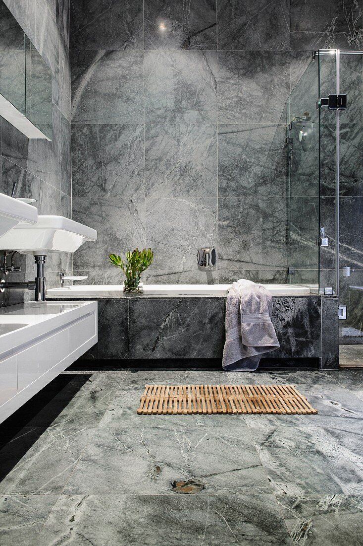 Luxurious Bathroom With Grey Marble Buy Image 11230356 Living4media