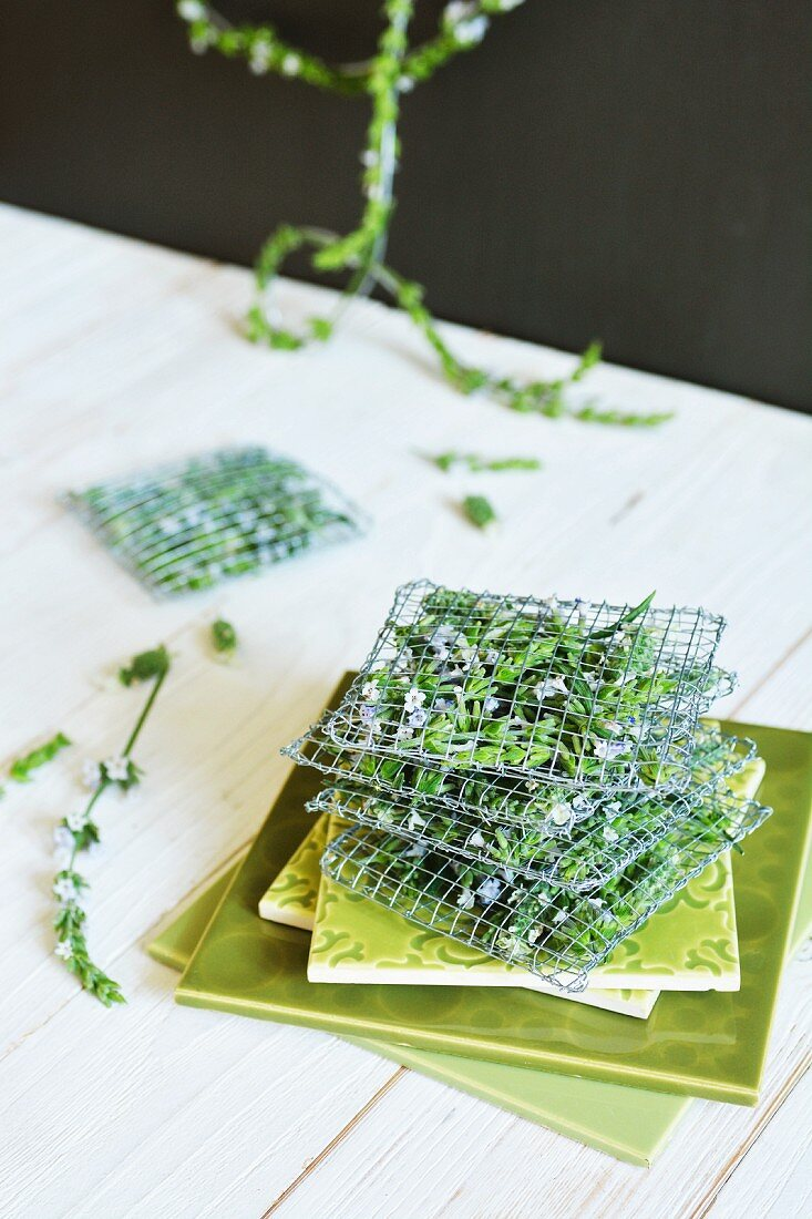 Lavender sachets made from fine wire