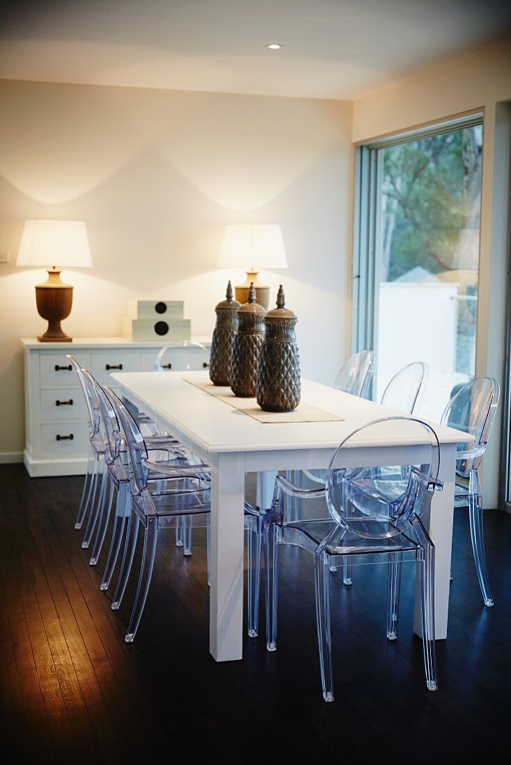 Dining Room With White Wooden Table Buy Image 11287782 Living4media