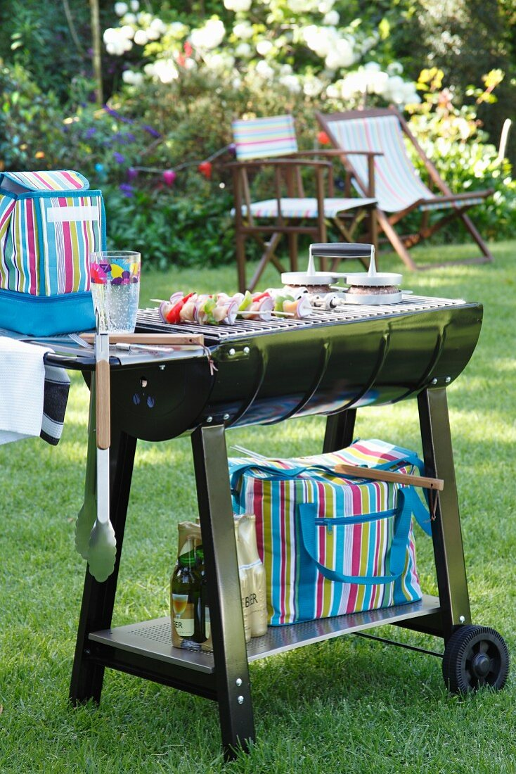 Barbecue trolley in garden