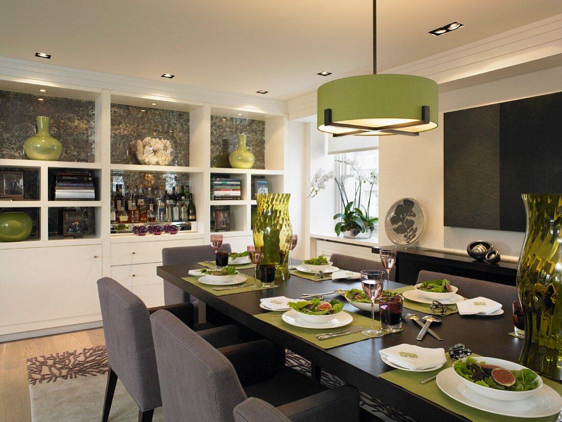 Festive dinner in modern room