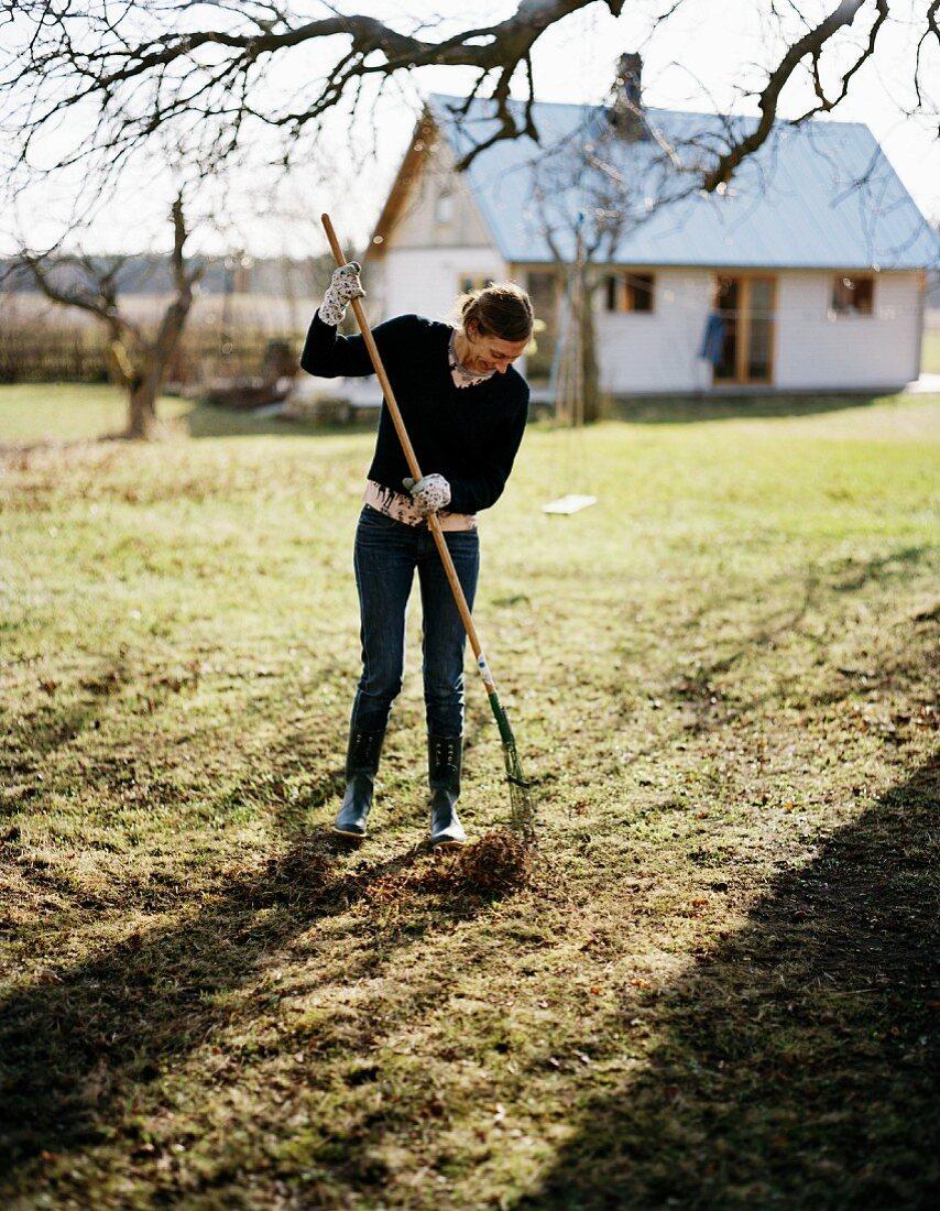 Woman gardening in winter