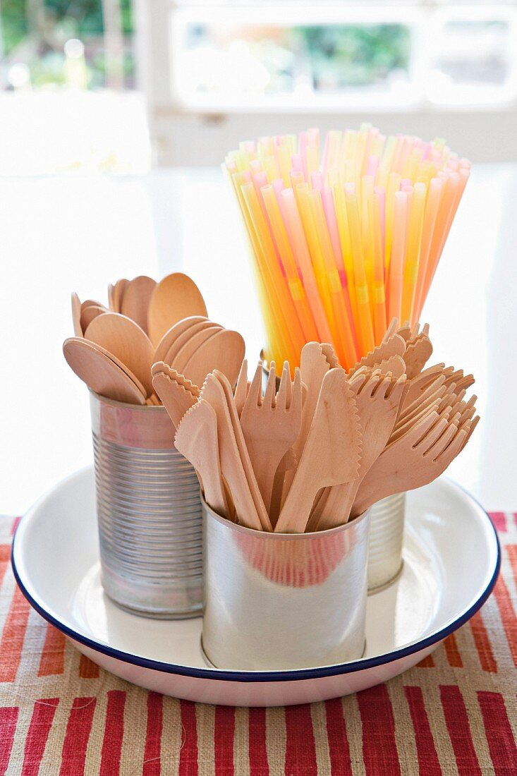 Wooden cutlery and drinking straws in metal cans in a white enamel dish on a red and white striped tablecloth