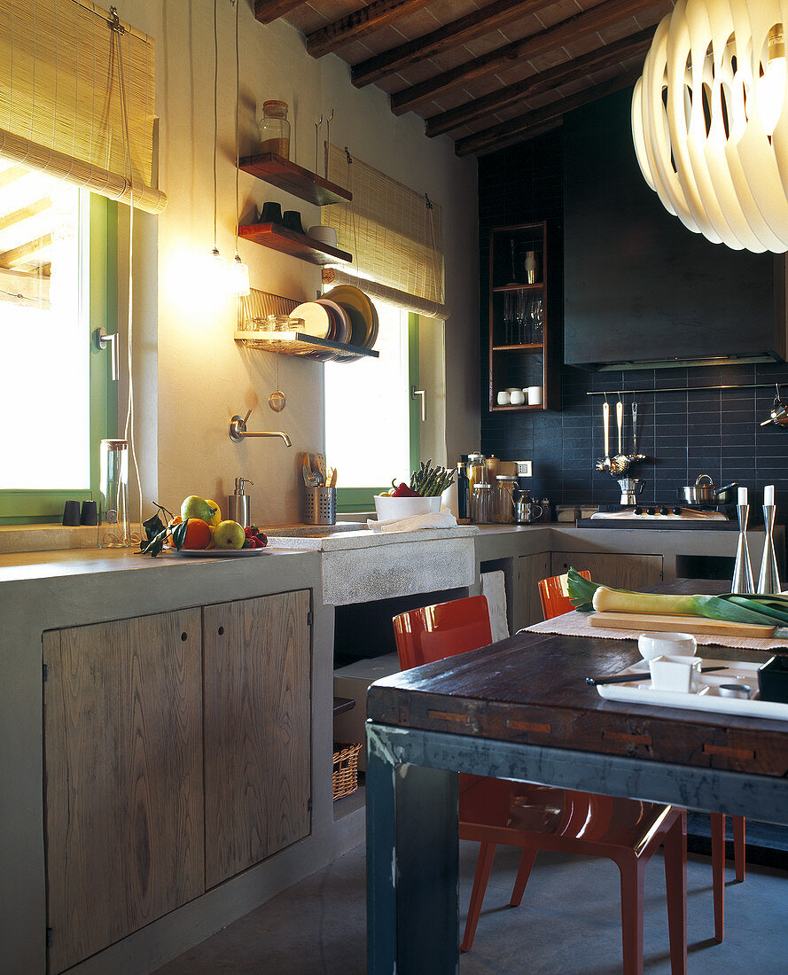 Rustic Kitchen Counter In Blue Tiled Buy Image 11040514 Living4media