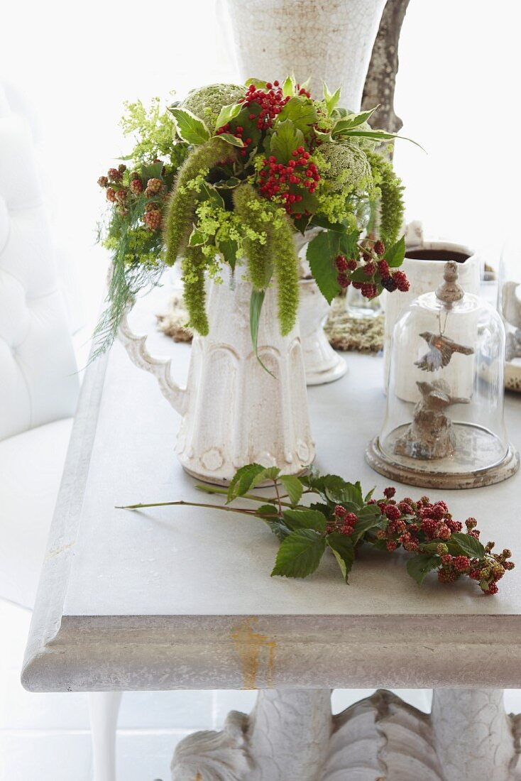 Summery flower bouquet as a table decoration