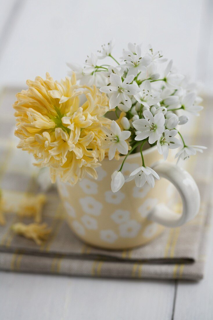 Posy of allium flowers & yellow hyacinth in mug