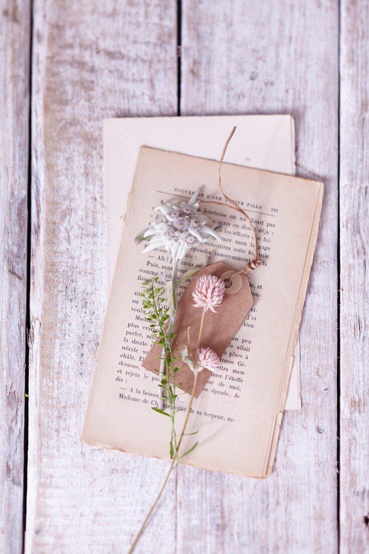 Edelweiss und Geschenkanhänger auf Buchseiten liegend