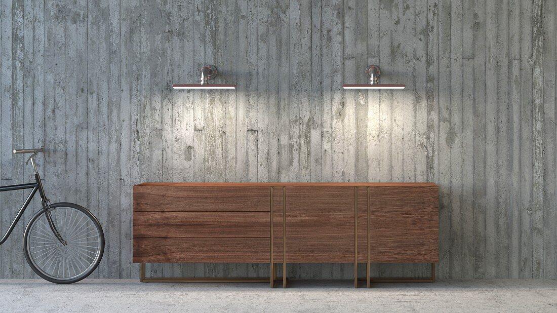 Brown retro sideboard in modern loft interior