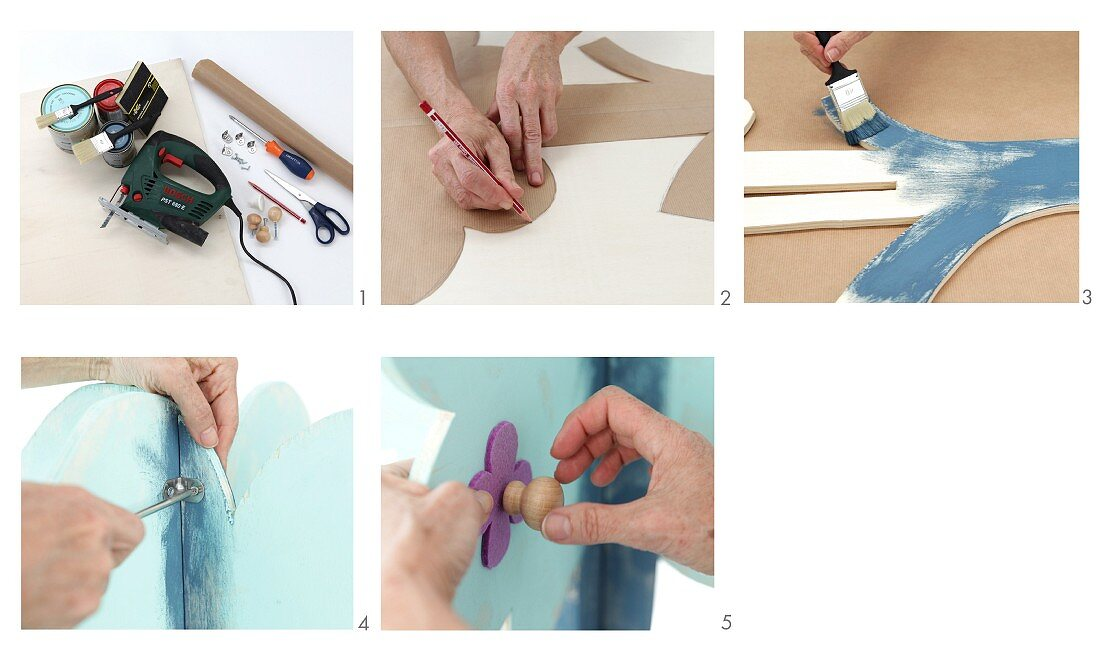 Instructions for making a blue plywood tree-shaped child's coat rack with colourful flower-shaped pegs