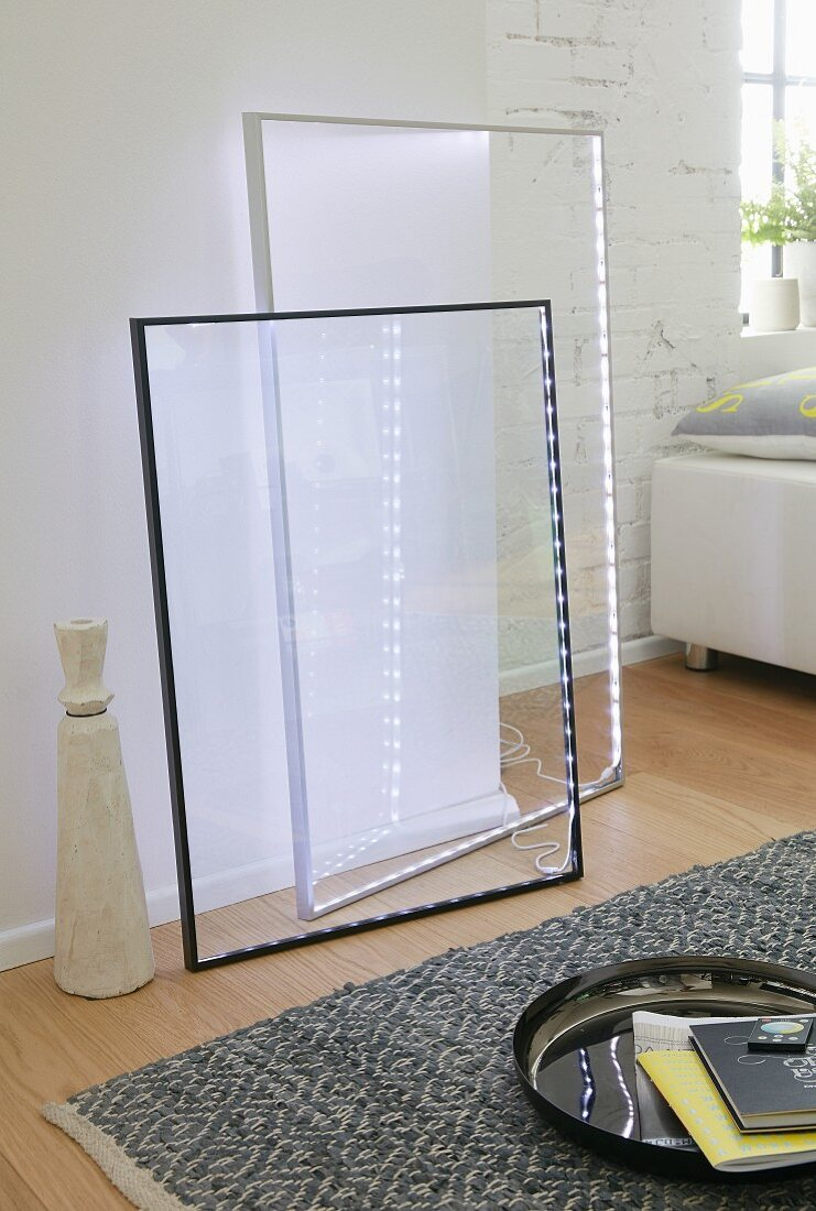 Large pictures frames with integrated fairy lights