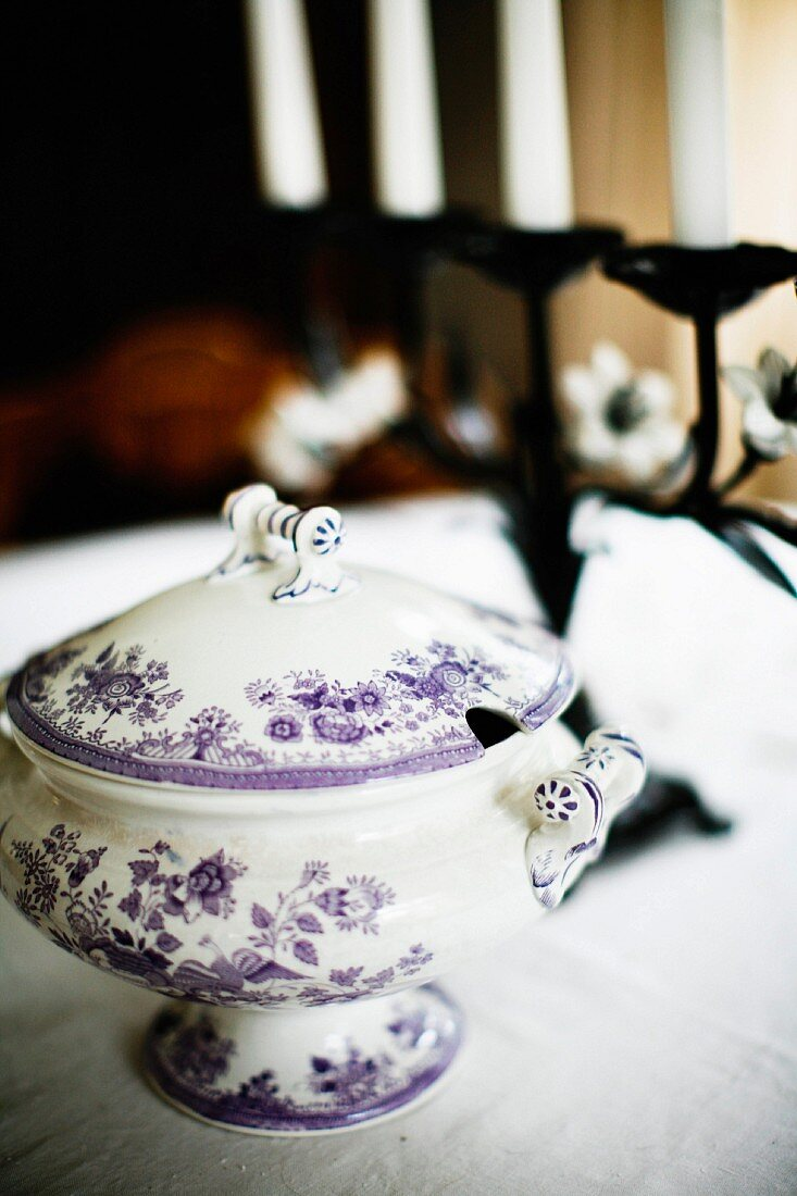 China tureen with white and blue floral pattern