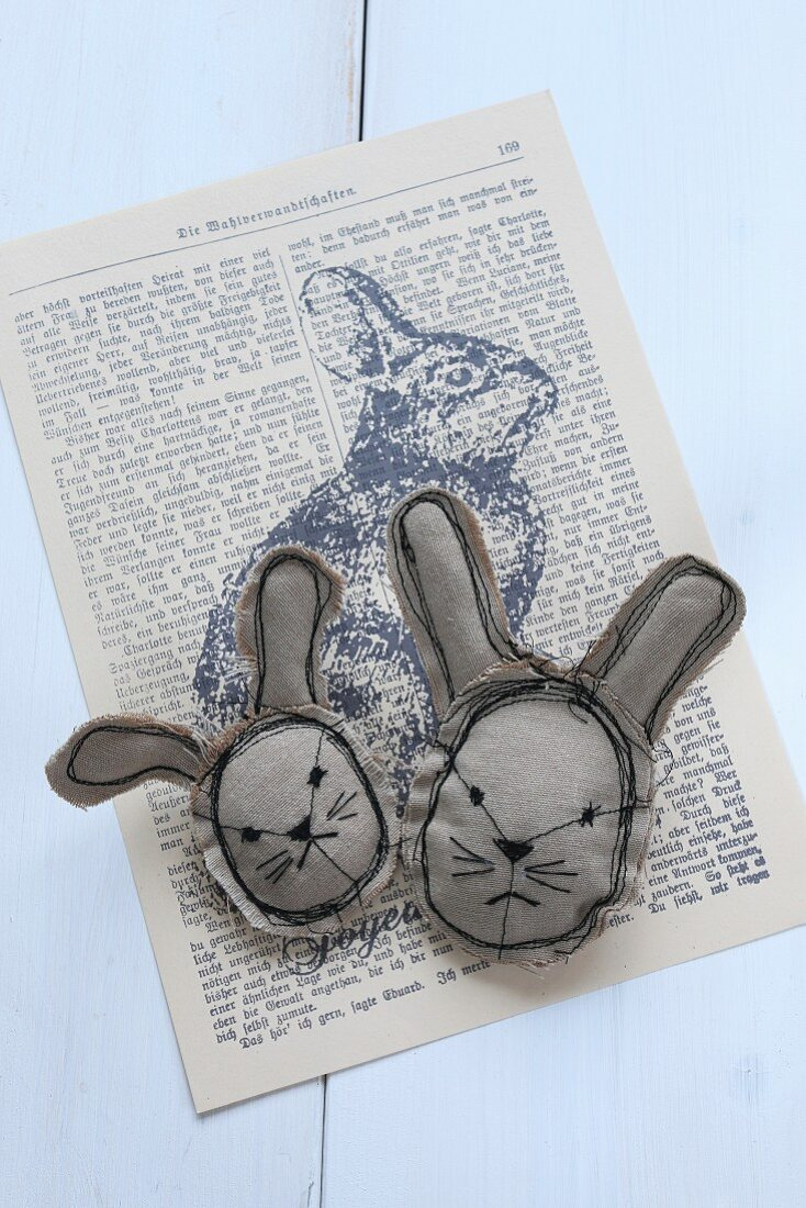 Hand-sewn Easter bunny heads on printed Easter bunny