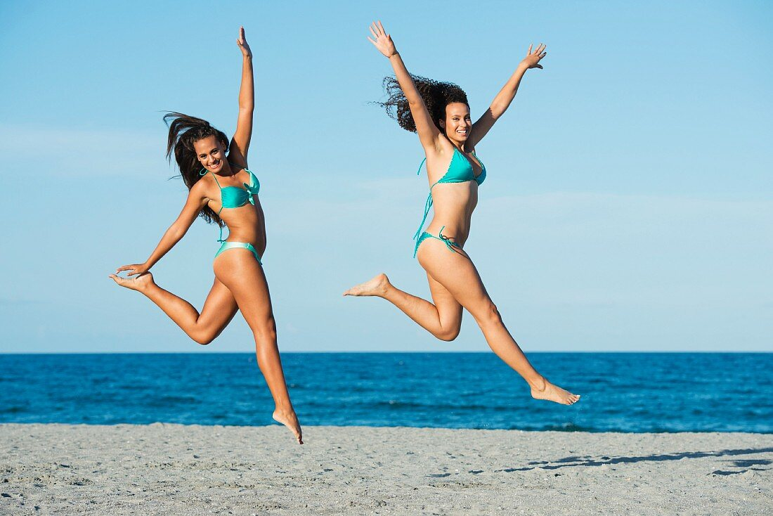 Leaping elegantly on the beach